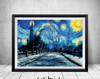 Dark Souls Print, Starry Night Print, Dark Souls Poster, Dark Souls Wall Art Decor, Irithyll of the Boreal Valley, Dark Souls Art, Art Print