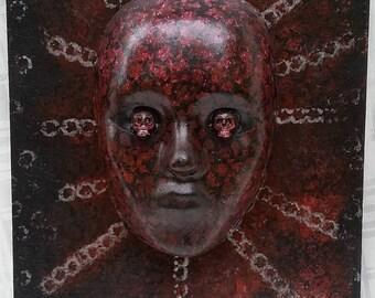 Man cave ideas, Dark art work, Dark Mask, Decorative mask, 3D wall art, Skull eyes, Mask art, Acrylic paint on wood, Unusual wall art, 16x11