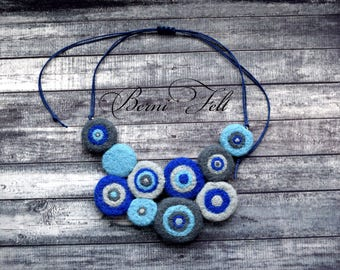 Design Necklace Felt Necklace  Wool Jewelry Blue and Gray  Wool Necklace Winter Jewelry Winter gift for wife Evil eye