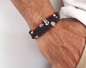 Black Bracelets Men, Black Beaded Bracelets, Men's Bracelets, Men's Jewelry, Made in Greece by Christina Christi Jewels.