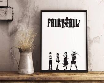 Fairy Tail, Fairy Tail Print, Fairy Tail Art, Fairy Tail Poster, Poster, Art, Print, Anime, Manga, Anime Poster, Anime Print, Manga Print.