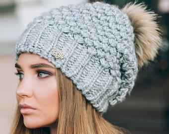 Gray Winter hat Wool hat for women Knitted hat pompon white Wool winter hat White Chunky Knit Hat Wool hat Beige Beanie Fall Apparel