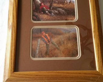 vintage buck deer hunter sleeping & barb wire art prints in oak wooden frame - wall hanging hunting picture photos - shotgun rifle trophy