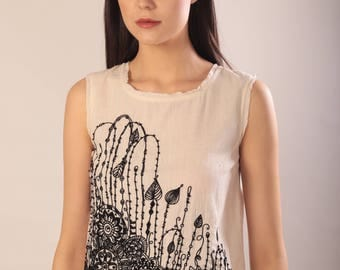 Top. khadi. Embroidered sleeveless top. Unique Summer Fashion for Boho College Student. Ivory black Cocktail Outfit