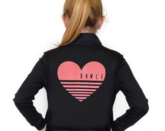 Girl's Glitter Heart Dance Warm Up Jacket