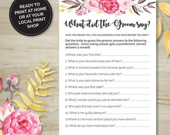 Pink Floral What did the Groom Say? Game, Hens Party, Bridal Shower, Bachelorette, Printable Games, Digital Download, Wedding Shower