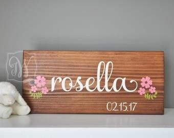 Custom Wood Name Sign with Florals, Nursery Sign, Baby girl name sign, Baby Name Sign, Girl Name Sign, Nursery decor