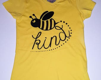 Bee Kind, Bumble Bee, Little Girls Fine Jersey V-Neck T-shirt in Sizes XS-Xl in 14 Colors