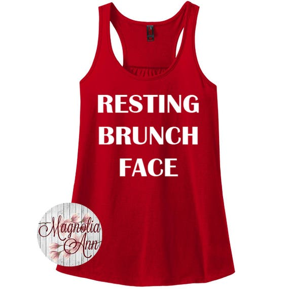 Resting Brunch Face, Women's Racerback Tank Top in 9 Colors in Sizes Small-4X, Plus Size