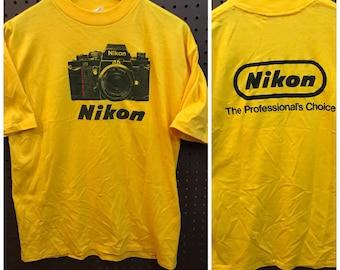 Nikon F3 Vintage 80's Promotional T-Shirt Yellow Small/Medium