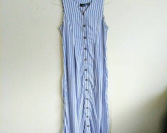 Vintage White and Blue Striped Button Maxi Dress