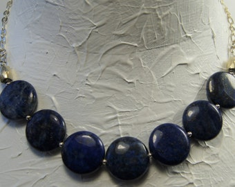 Lapis Lazuli and Sterling Silver Necklace E 042