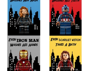 Lego Bathroom Art - Set of 4