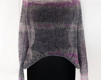 See-through sweater Boho tunic knitting blouse see through knit top knit coverup top