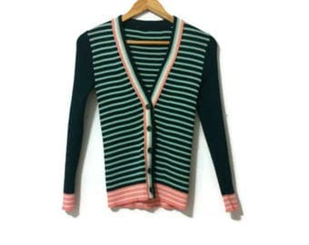 1970s Stripe Green + Pink Stretchy Knit Cardigan XS-S