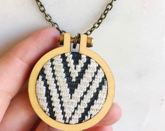 Fabric Necklace,  Fabric Hoop Necklace, Fabric Pendant necklace, black white stripes, gift for her, for women, statement necklace