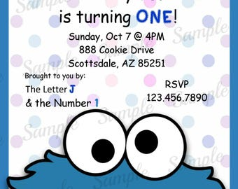 Sesame Street Invitation - Cookie Monster Birthday Party Invitation - Birthday Party Invite - Digital - Personalized Customized