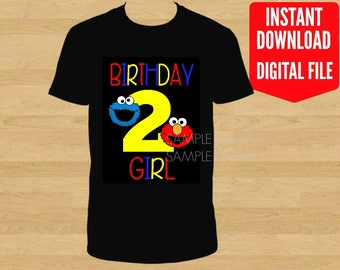 Sesame Street Birthday Iron On Shirt Transfer, Elmo Cookie Monster tshirt printable, Instant Download Birthday Girl, age 2, Black Background