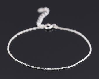 Thin silver bracelet, Sterling silver bracelet, Delicate silver bracelet, Silver chain bracelet, Silver charm bracelet, Dainty bracelet,gift