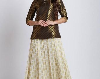 Indian ethnic Georgette zari skirt with Banarasi jacquard  short tunic