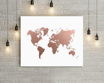 Gold foil map etsy world map rose gold print office decor world map art travel map gumiabroncs Image collections