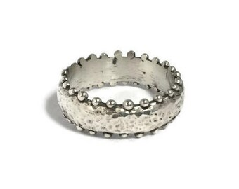 medieval ring, sterling silver ring, faceted ring, rough ring, hammered ring, relic ring,  ancient ring, stacking ring, unique ring