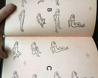 Antique Sex positions and instruction manual: Dynamic Intercourse. Nude illustrations (male and female), perfect adult erotic white elephant