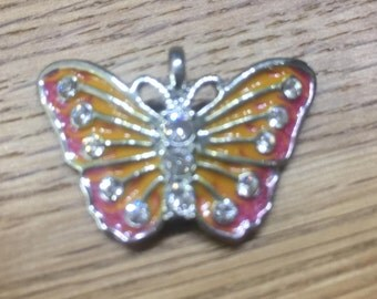 Pendant enamelled butterfly in yellow-pink and clear Straßteinchen-30x20mm