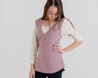V-Neck Knit Vest (Dusty Pink)