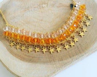 Bib necklace gold stars