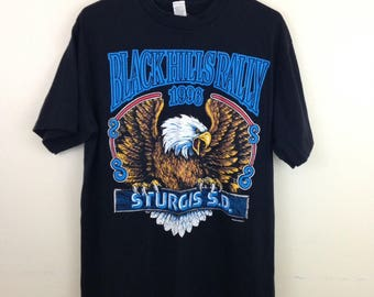 Vintage 96 Sturgis Black Hills Rally Bald Eagle Double Grapic T-Shirt - Size Large - Made in USA
