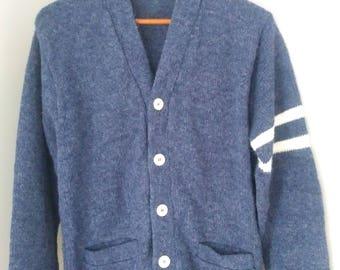 Vintage Cardigan Sweater - Grandpa Sweater - Button Up - Blue Cardigan
