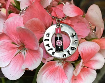 Girls Night Necklace; hand-stamped, girls night out and party friendship gift