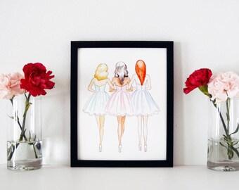 Friendship Print, Fashion Illustration, Fashion Print, Watercolor Print, Art Print, Bridesmaid Gift, Gifts For Her, Home Decor, 8x10