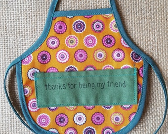Wine Bottle Apron, Thanks for being my friend, Novelty Gift, Unique Gift Idea, Bottle Cozy, Gift for a friend, Gift for Her, Gift for Him