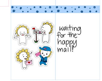 Mini-- Happy Mail| Postman| Waiting for Happy Mail| Post Service| Happy Mail Planner Stickers (M17)