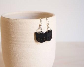 Black Cat Wooden Earrings