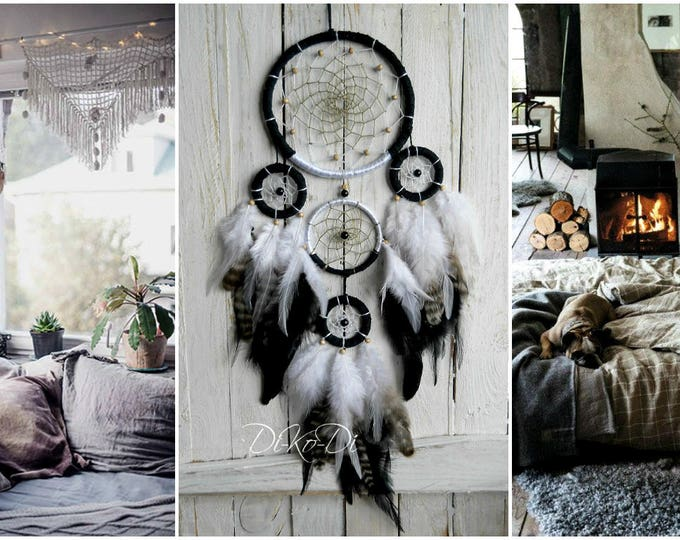 Personalized gift for boyfriend Dream catcher Black white Modern wall hanging Home Decor Large dream catcher bohemian nursery decor