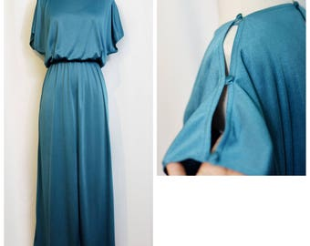 70s Teal Flutter Sleeve Maxi Dress