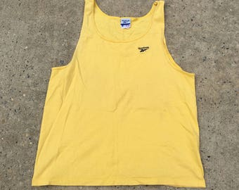 Vintage 90s Reebok Yellow Athletic Embroidered Logo Gym Workout Beach Tank Top - Large