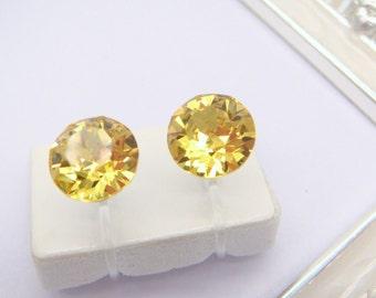 light Topaz Swarovski crystal Invisible clip on earrings,yellow, Clip On Earrings,non pierced earring,Clip-ons,gift for women