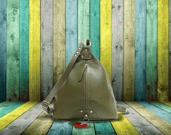 Leather backpack purse minimalist green leather rucksack Leather Shoulder Bag college knapsack cow backpack triangular bicycle rucksack
