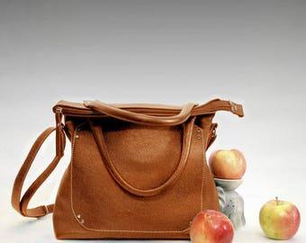 Folding leather bag medium size orange top handle zippered tote shoulder bag Foldover purse leather crossbody women's handbag practical gift