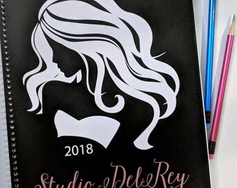 Custom   2018 Hairstylist Day Planner   Black   Weekly   13 months Jan 18 - Jan 19   Appointment Book   Scheduling   Salon   Dated   Gift