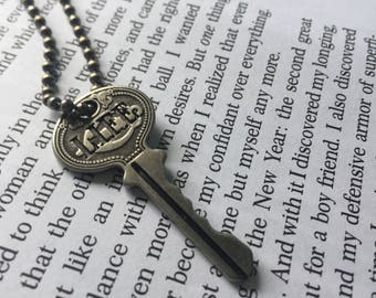 Silver Rustic Life Key necklace