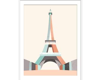 Eiffel Tower Print. Eiffel Tower Art. Paris Art. Paris Picture. Paris Landmark. Travel Print.