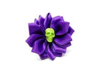 Rock - flower ring with skull