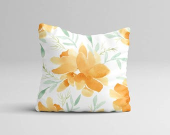 "Rustic Throw Pillow Case - Watercolor Throw Pillow Cover - Home Decor Cottage Decor ""Orange Magnolia"" Watercolor Pillow Case 16x16 