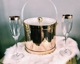 Vintage Georges Briard Gold Disco Ice Bucket / Hollywood Regency Signed Ice Caddy w/ Handle + Lid