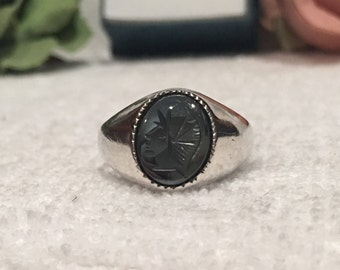 Wonderful Vintage ENGLISH Sterling Silver Carved Roman Centurion HEMATITE Ring-Made in LONDON in 1976-Uk Size U-Us Size 10 & 1/4